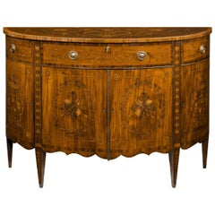 Late 18th Century Marquetry Demilune Commode