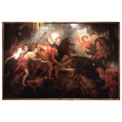 Large 17th Century Oil on Canvas Depicting a Wild Boar Hunt, Flemish School