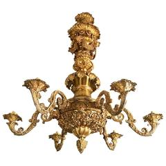 George IV Gilt Brass Chandelier