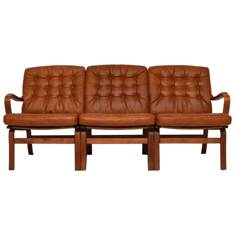 Danish Retro Leather Bentwood Sofa Vintage 1970s At 1stdibs
