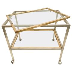 Bar Cart with Tray in Brass and Chrome, Italy