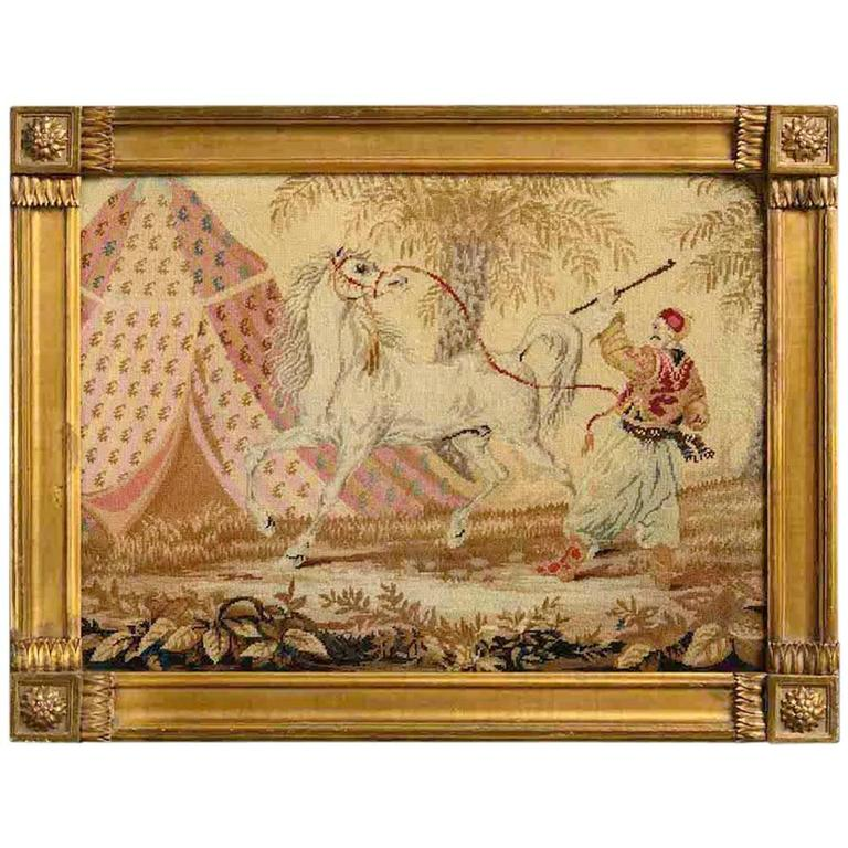 Early Victorian Needlework Picture of an Arab stallion