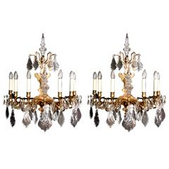 Large Pair of 19th Century Wall Lights