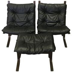 Stylish Norgewian Westnofa Black Leather Club Chairs and Ottoman