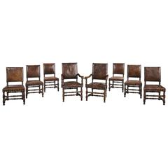 Set of Eight (Six plus Two) 17th Century Design Oak Chairs