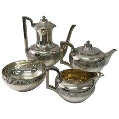 Gorham New York Silver Plated Art Deco American Tea Set circa 1940