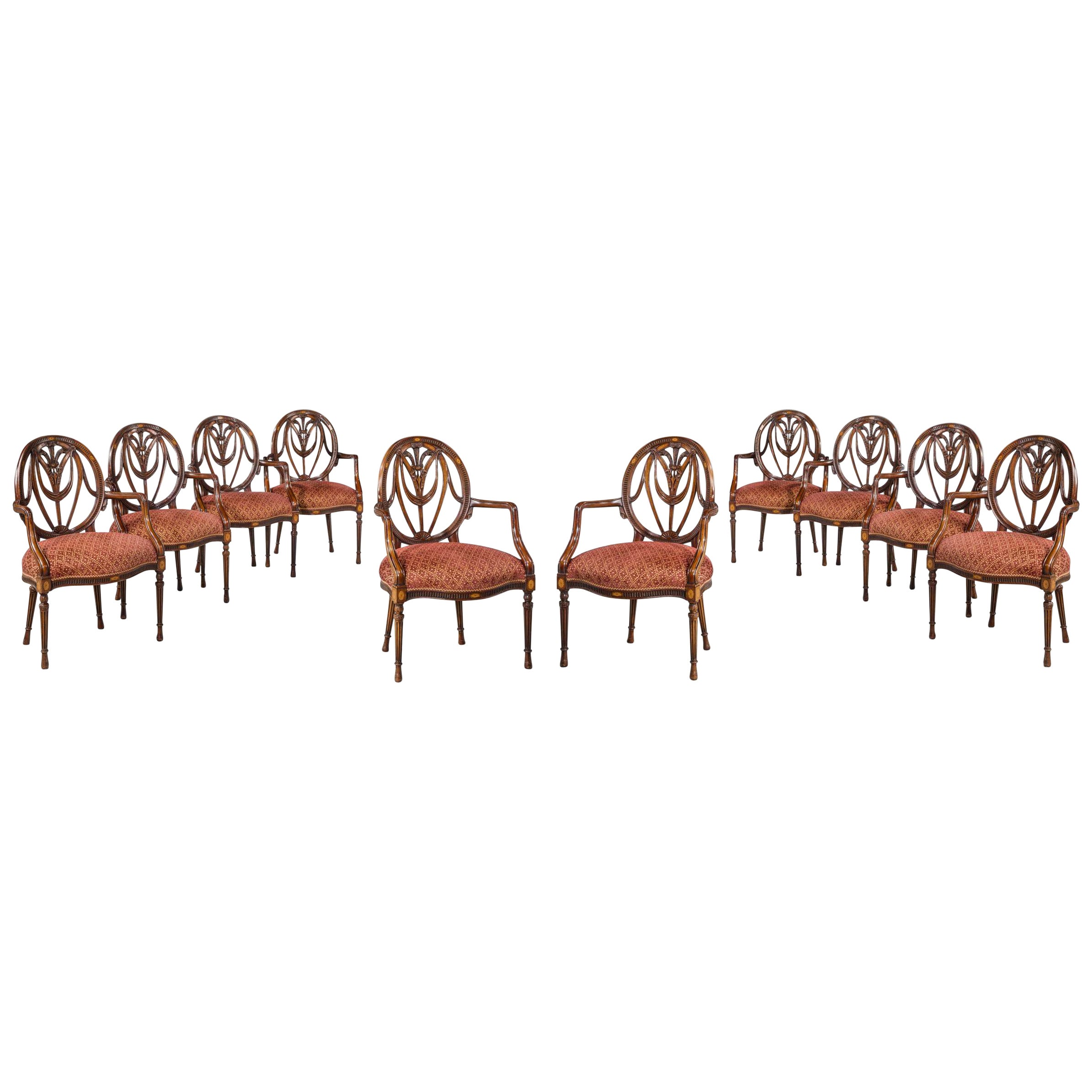 90741629ae83 Set of Ten Mid-20th Century Mahogany Elbow Chairs For Sale at 1stdibs