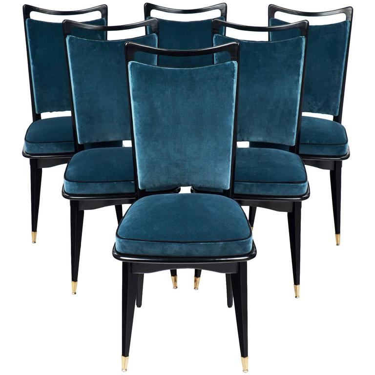 set of six french mid century modern dining room chairs at