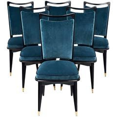 Set of Six French Mid-Century Modern Dining Room Chairs