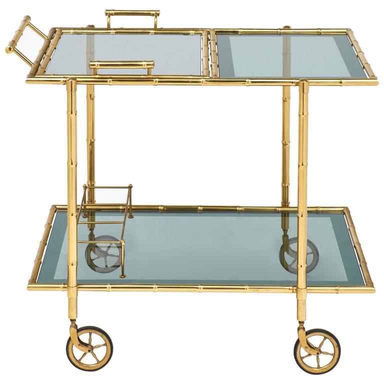 Mid-Century French Faux Bamboo Bar Cart by Maison Baguès