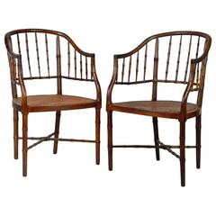Pair of 19th Century English Regency Faux Bamboo Chinoiserie Inspired Armchairs
