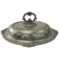 Victorian Silver Plated Oval English Entree Dish, circa 1870