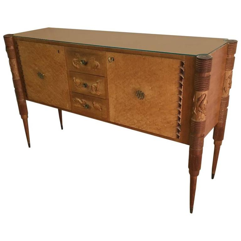 Italian 1950 Light Carved Wood Sideboard by Pier Luigi Colli