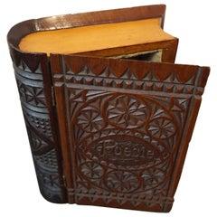 Rare mid 19th Century Carved Mahogany German Kerbschnitt Book Shaped Jewelry Box