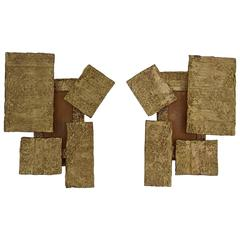 French Modern Brutalist Cast Bronze Sconces