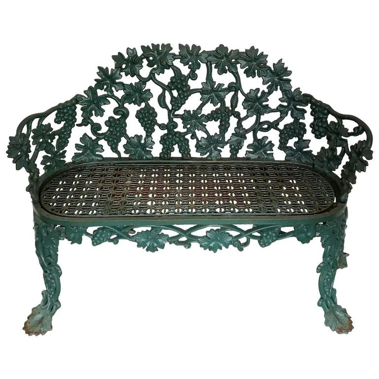 Antique Cast Iron Green Painted Garden Bench At 1stdibs