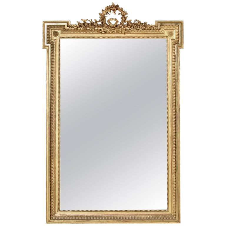 Large 19th Century Louis XVI Style Giltwood Mirror with Original Beveled Glass