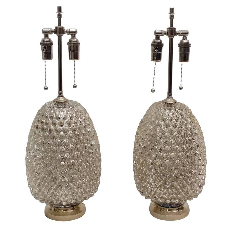 Textured Mercury Glass Lamps For Sale
