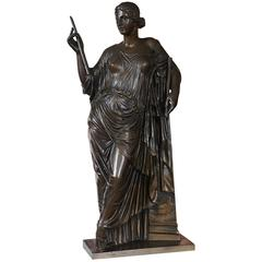Late 19th Century Bronze Sculpture Muze Euterpe Made & Marked by F. Barbedienne
