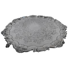 English Edwardian Georgian Large and Heavy Sterling Silver Salver Tray