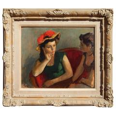 "Robert Phillip Painting ""Two Women in Conversation"""