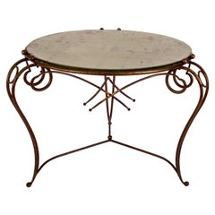 Gilt Metal Table and Gold Leaf Glass Top