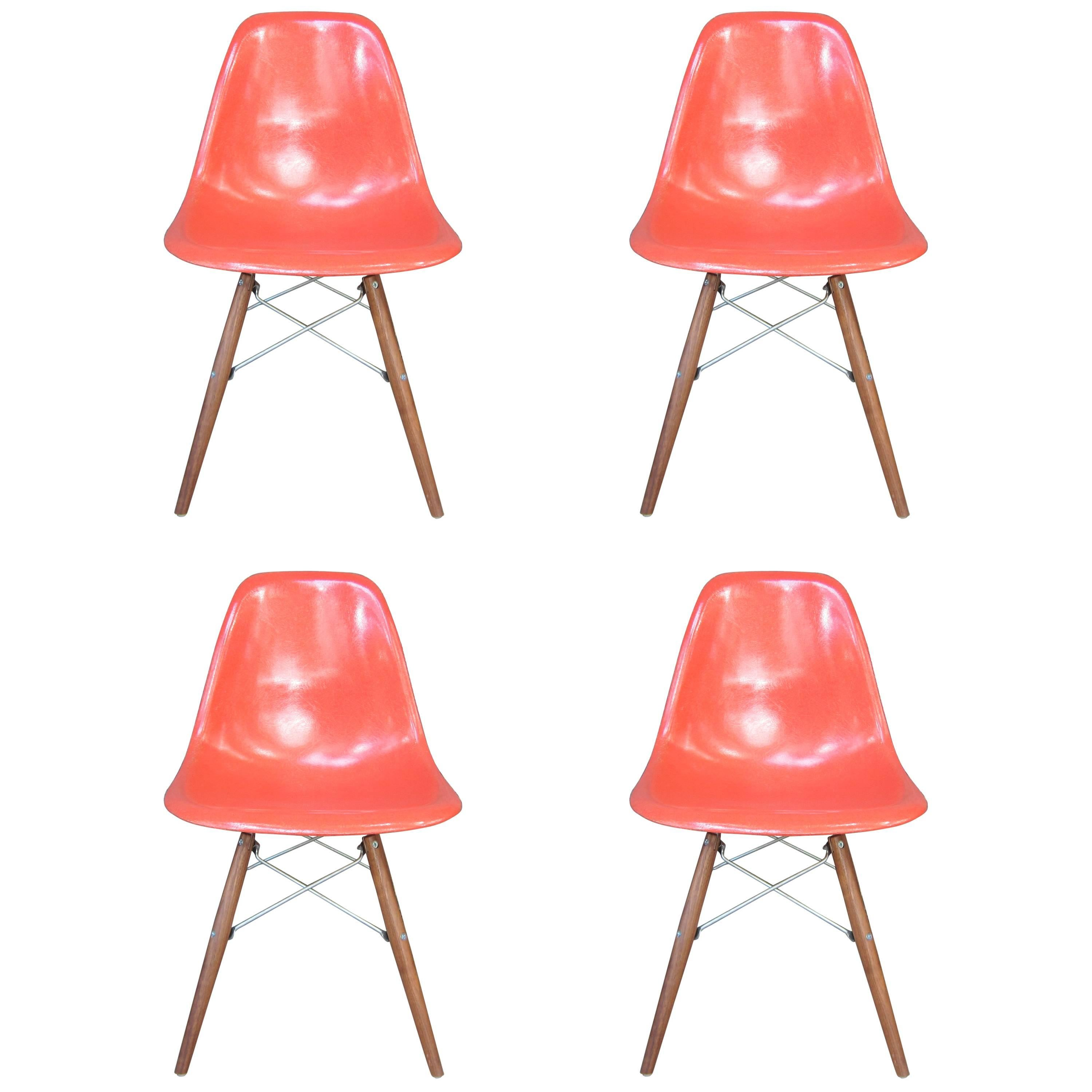 Four Herman Miller Eames Dining Chairs