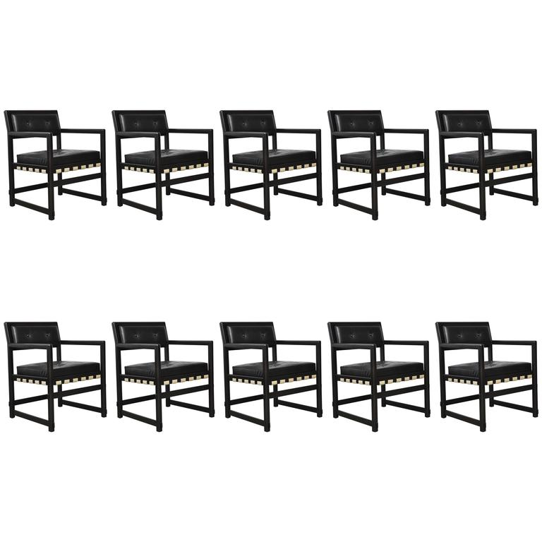 Set of Ten Dunbar Dining Armchairs by Edward Wormley 1
