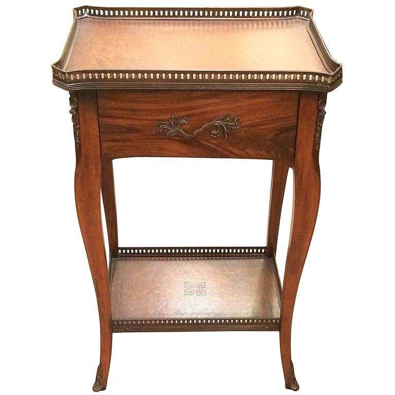 Rich Theodore Alexander Wood and Leather Side Table