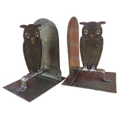 Vintage Pair of Hammered Metal Owl Bookends by Goberg, Hugo Berger, Germany