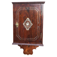 19th Century Mother-of-Pearl Inlaid Coromandel Key Rack Holder / Wall Cabinet