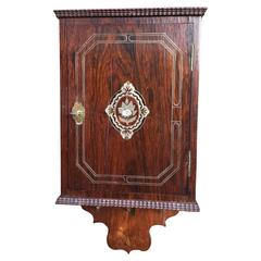 Rare 19th Century Mother-of-Pearl Inlaid Rosewood Key Rack / Holder Wall Cabinet