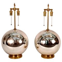 Large Pair of Mercury Glass Ball Lamps
