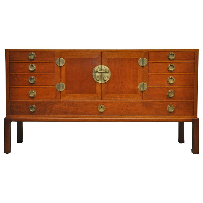 Walnut and Brass Sideboard by Edward Wormley for Dunbar For Sale