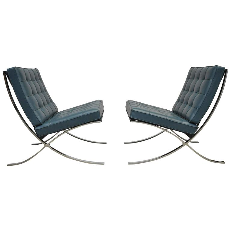 rare blue barcelona chairs by mies van der rohe for knoll at 1stdibs. Black Bedroom Furniture Sets. Home Design Ideas