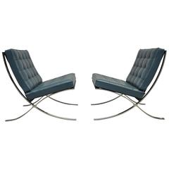 Rare Blue Barcelona Chairs by Mies Van Der Rohe for Knoll