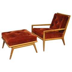 T.H. Robsjohn-Gibbings Lounge Chair with Ottoman