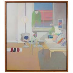 Modernist Oil on Canvas Painting by Leatrice Rose