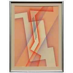 "Raymond Jonson Tempera, Abstract ""Red Rhythm"""