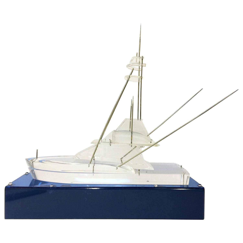 Vintage lucite acrylic deep sea sport fishing boat model for Deep sea fishing boats for sale