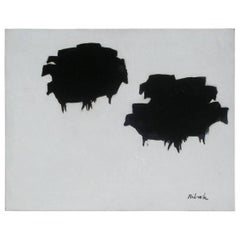 New Mexico Modernist Louis Ribak Abstract Painting, Black Angus