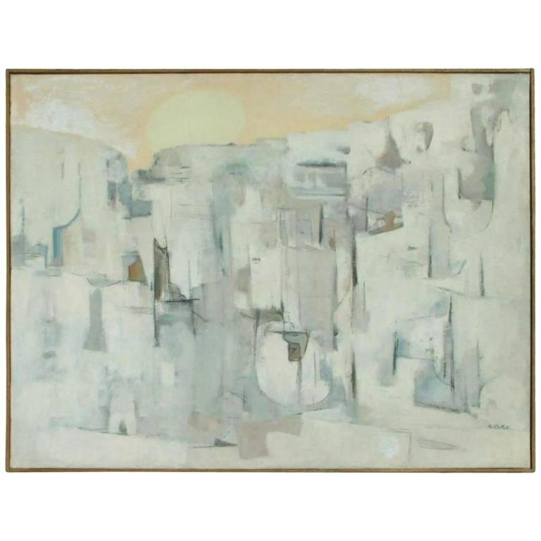 "New Mexico Modernist Louis Ribak Painting ""White City No. 3"""