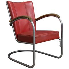 1932, W.H. Gispen for Gispen, a Complete Original 412 Chair with Wooden Armrests