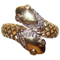 Antique Gold Double Head Snake Ring with Diamond Eyes