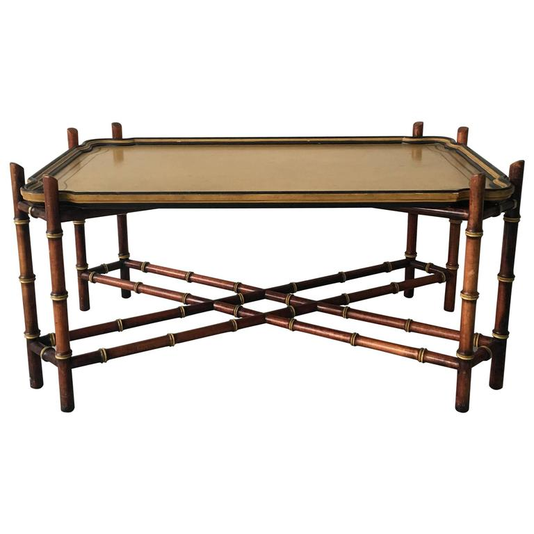 Baker Furniture Faux Bamboo Tray Coffee Table For Sale