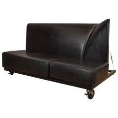 Mid-Century Memphis Black Leather Sofa by Pallucco and Rivier for Pallucco, 1988