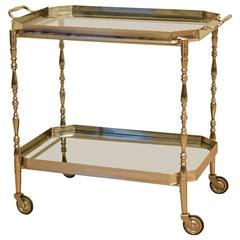 Italian Chrome Bar or Serving Cart with Removable Tray