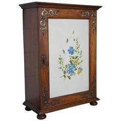 Late 19th Century Miniature Jugendstil Cabinet with Hand-Painted Flowers on Zinc