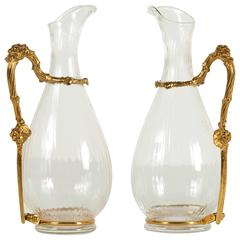 Pair of Bronze and Glass Wine Pitcher by Gabriella Crespi