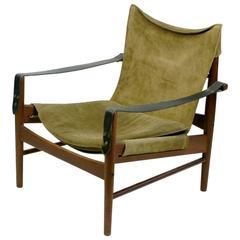 Teak and Suede Safari Chair by Hans Olsen